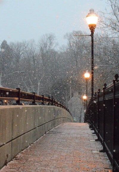 Winter, Schnee, Brücke, Dunkelheit