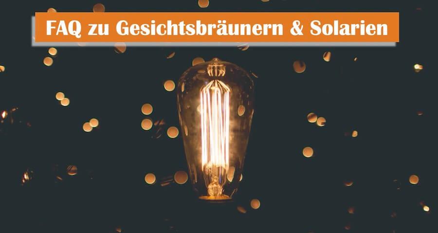 FAQ zu Gesichtsbräuner und Solarium, leuchtende Lampe vor einem dunklen Hintergrund